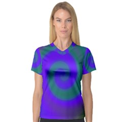 Swirl Green Blue Abstract V Neck Sport Mesh Tee