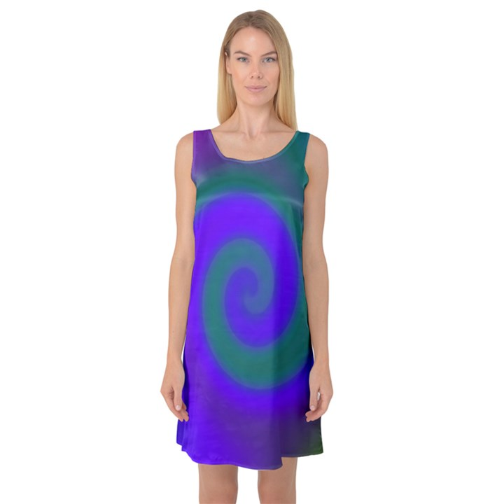 Swirl Green Blue Abstract Sleeveless Satin Nightdress