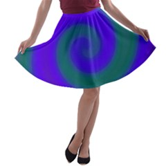 Swirl Green Blue Abstract A Line Skater Skirt by BrightVibesDesign