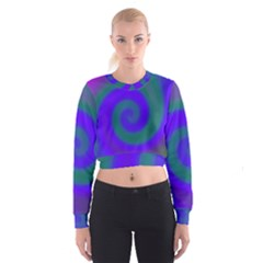 Swirl Green Blue Abstract Cropped Sweatshirt