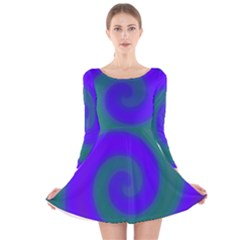 Swirl Green Blue Abstract Long Sleeve Velvet Skater Dress by BrightVibesDesign