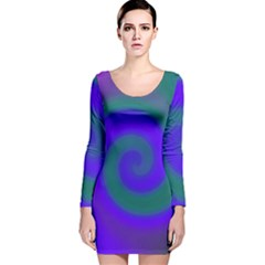 Swirl Green Blue Abstract Long Sleeve Velvet Bodycon Dress by BrightVibesDesign