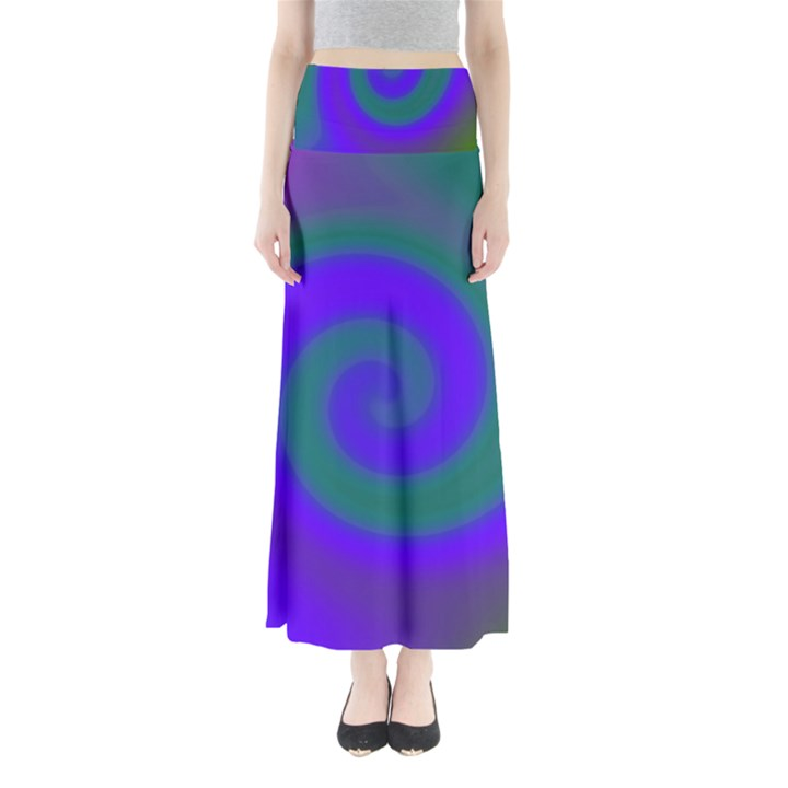 Swirl Green Blue Abstract Full Length Maxi Skirt