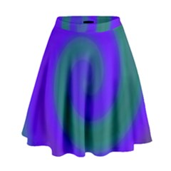 Swirl Green Blue Abstract High Waist Skirt by BrightVibesDesign