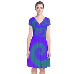 Swirl Green Blue Abstract Short Sleeve Front Wrap Dress