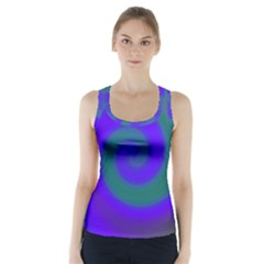 Swirl Green Blue Abstract Racer Back Sports Top