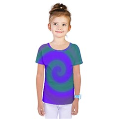 Swirl Green Blue Abstract Kids  One Piece Tee