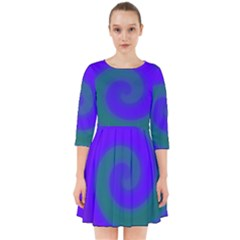 Swirl Green Blue Abstract Smock Dress
