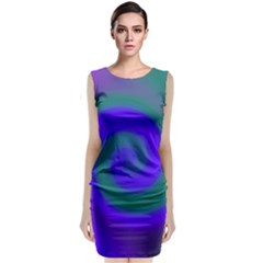 Swirl Green Blue Abstract Sleeveless Velvet Midi Dress by BrightVibesDesign
