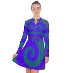 Swirl Green Blue Abstract Long Sleeve Panel Dress