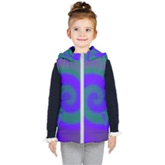 Swirl Green Blue Abstract Kid s Hooded Puffer Vest