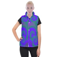 Swirl Green Blue Abstract Women s Button Up Vest