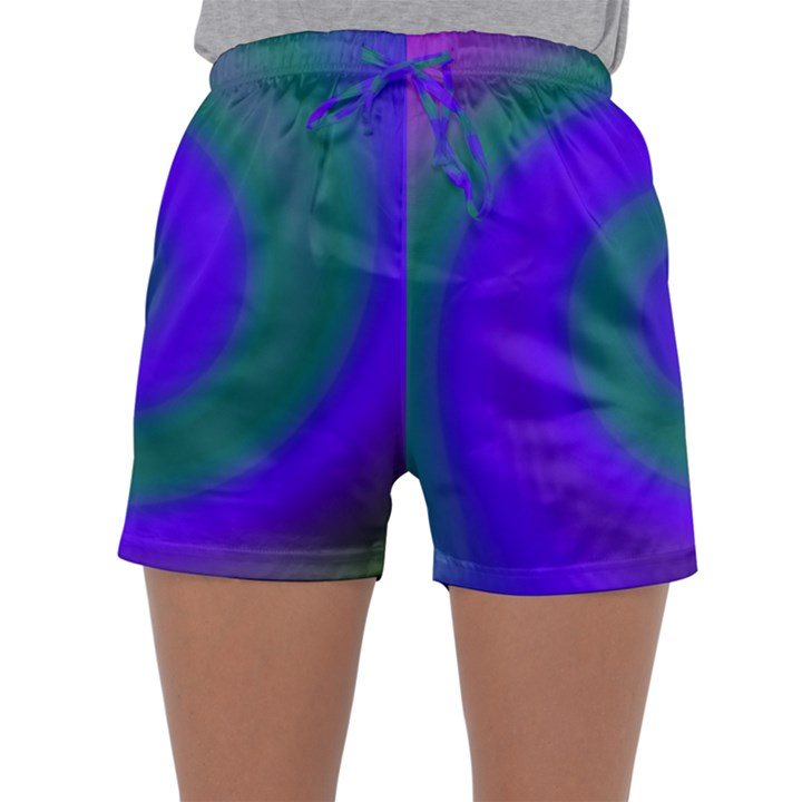 Swirl Green Blue Abstract Sleepwear Shorts
