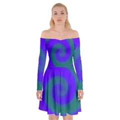 Swirl Green Blue Abstract Off Shoulder Skater Dress by BrightVibesDesign