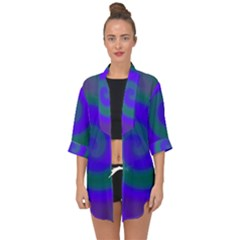 Swirl Green Blue Abstract Open Front Chiffon Kimono