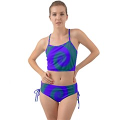 Swirl Green Blue Abstract Mini Tank Bikini Set