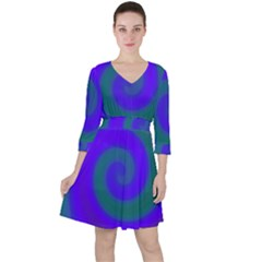 Swirl Green Blue Abstract Ruffle Dress
