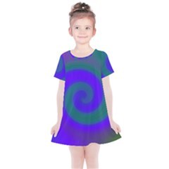 Swirl Green Blue Abstract Kids  Simple Cotton Dress by BrightVibesDesign