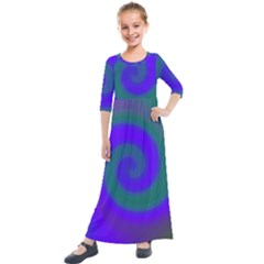 Swirl Green Blue Abstract Kids  Quarter Sleeve Maxi Dress by BrightVibesDesign