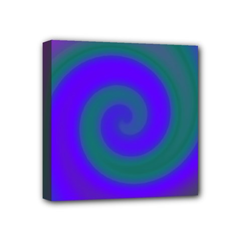 Swirl Green Blue Abstract Mini Canvas 4  X 4
