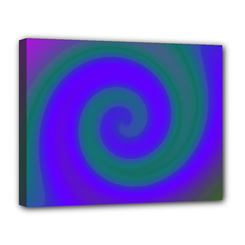 Swirl Green Blue Abstract Canvas 14  X 11  by BrightVibesDesign