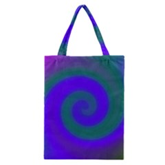 Swirl Green Blue Abstract Classic Tote Bag by BrightVibesDesign