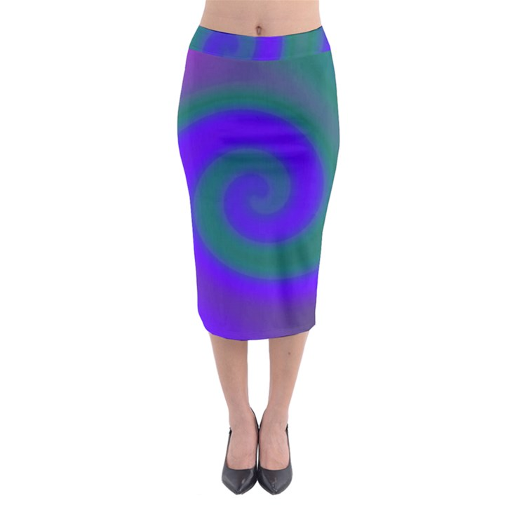 Swirl Green Blue Abstract Midi Pencil Skirt