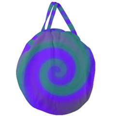 Swirl Green Blue Abstract Giant Round Zipper Tote