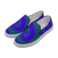 Swirl Green Blue Abstract Women s Canvas Slip Ons by BrightVibesDesign