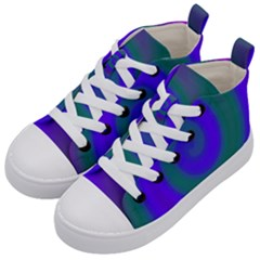 Swirl Green Blue Abstract Kid s Mid Top Canvas Sneakers by BrightVibesDesign
