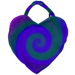 Swirl Green Blue Abstract Giant Heart Shaped Tote