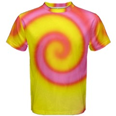 Swirl Yellow Pink Abstract Men s Cotton Tee
