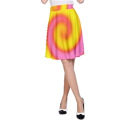 Swirl Yellow Pink Abstract A Line Skirt