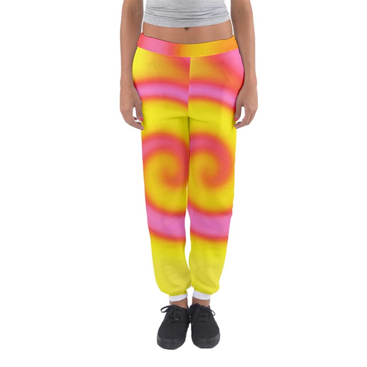 Swirl Yellow Pink Abstract Women s Jogger Sweatpants