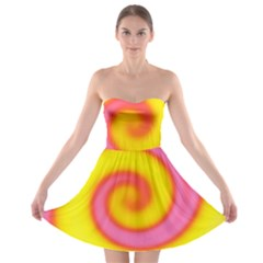 Swirl Yellow Pink Abstract Strapless Bra Top Dress