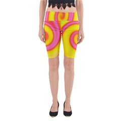 Swirl Yellow Pink Abstract Yoga Cropped Leggings