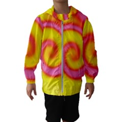 Swirl Yellow Pink Abstract Hooded Windbreaker (kids)
