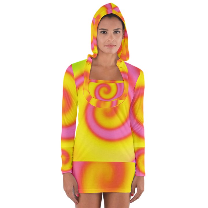 Swirl Yellow Pink Abstract Long Sleeve Hooded T-shirt