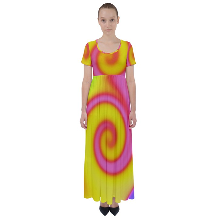 Swirl Yellow Pink Abstract High Waist Short Sleeve Maxi Dress