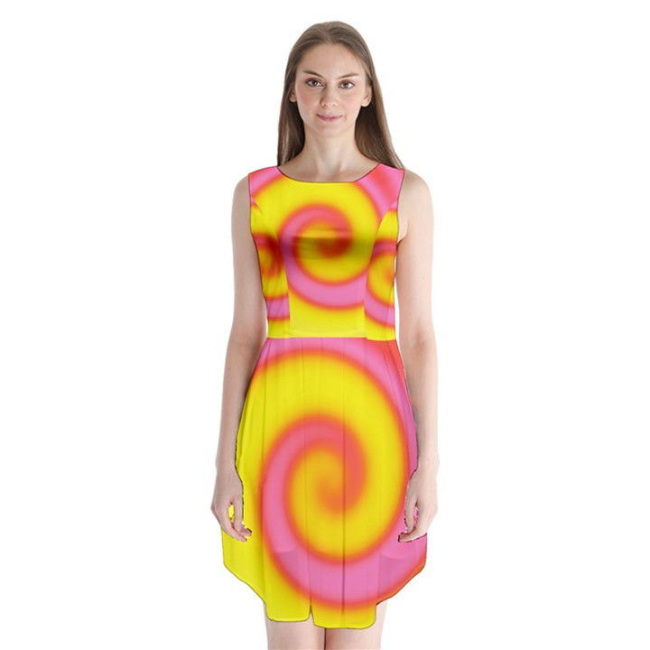Swirl Yellow Pink Abstract Sleeveless Chiffon Dress