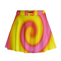Swirl Yellow Pink Abstract Mini Flare Skirt