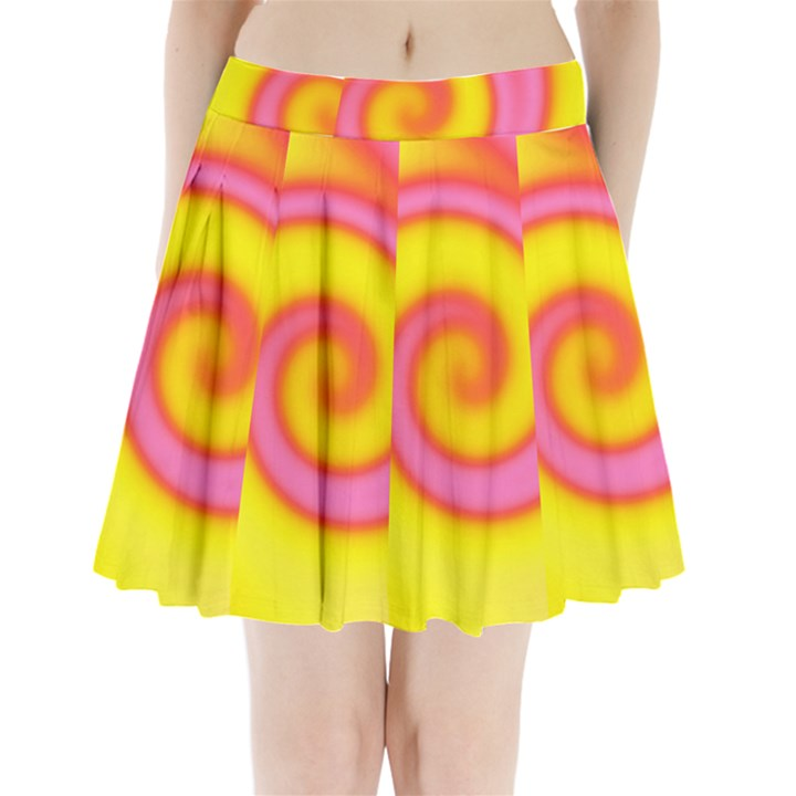 Swirl Yellow Pink Abstract Pleated Mini Skirt
