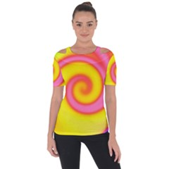 Swirl Yellow Pink Abstract Short Sleeve Top