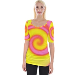 Swirl Yellow Pink Abstract Wide Neckline Tee