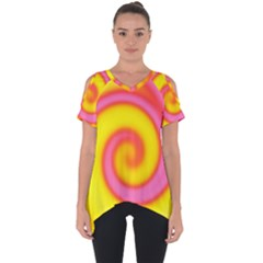 Swirl Yellow Pink Abstract Cut Out Side Drop Tee