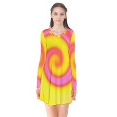 Swirl Yellow Pink Abstract Long Sleeve V Neck Flare Dress