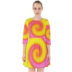 Swirl Yellow Pink Abstract Smock Dress