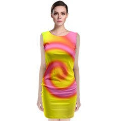 Swirl Yellow Pink Abstract Sleeveless Velvet Midi Dress
