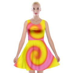 Swirl Yellow Pink Abstract Velvet Skater Dress