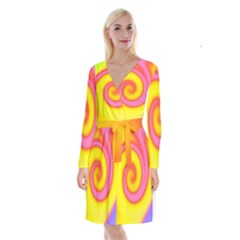 Swirl Yellow Pink Abstract Long Sleeve Velvet Front Wrap Dress